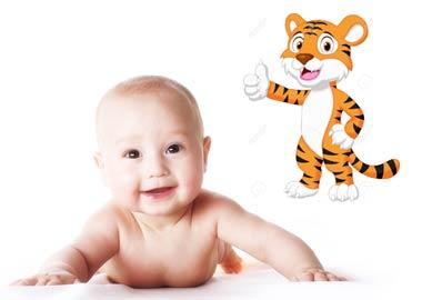 Barn og tiger