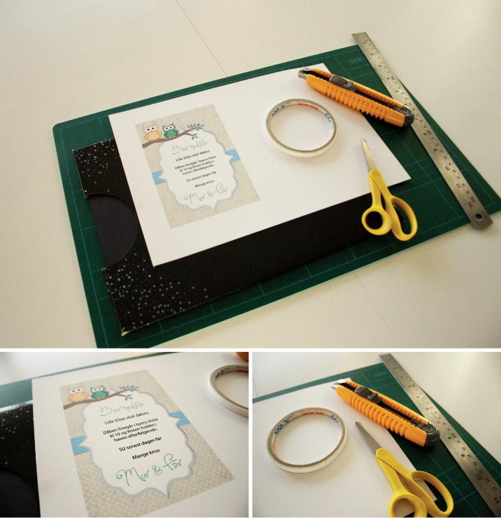 materialer til barnedåbsinvitation