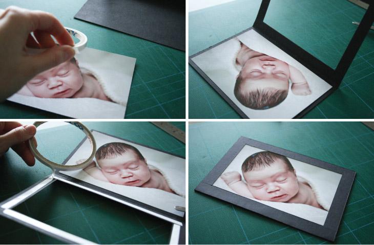 baby billede lægges i barnedåbsinvitation