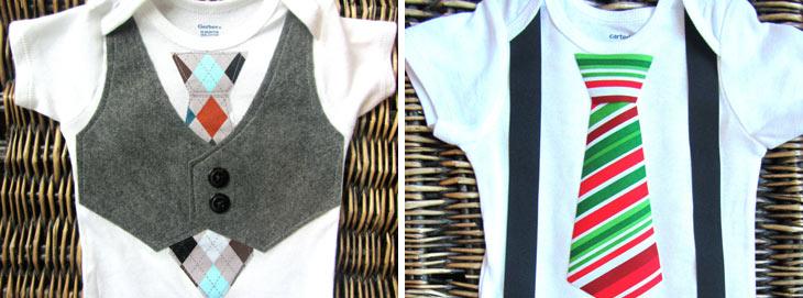Drenge tøj pyntet som vest og slips