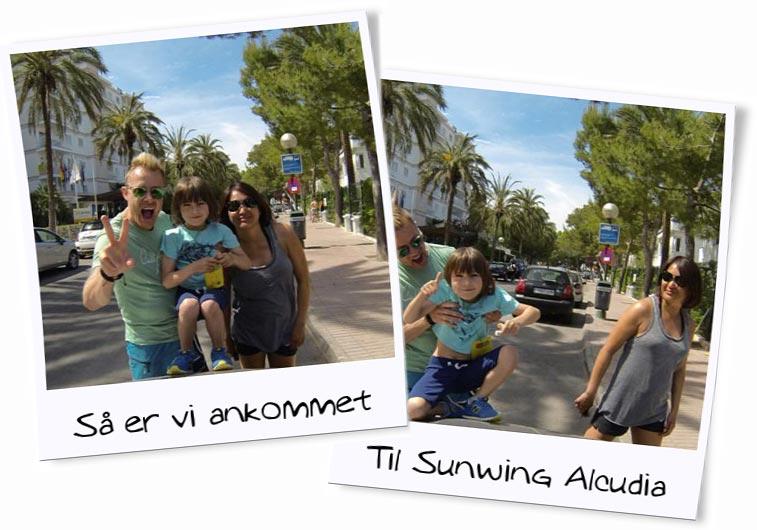 Familien foran Sunwing hotellet