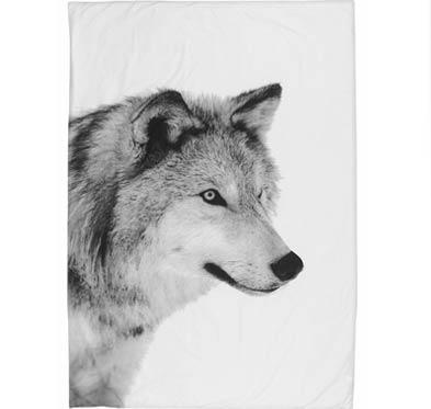 sengetøj med ulvemotiv