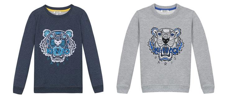 Blå og grå sweatsshirts med tiger motiv fra Kenzo Kids