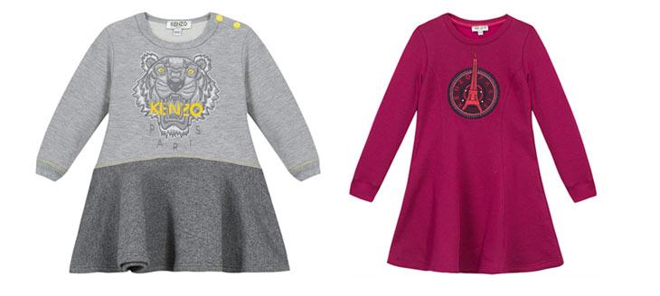 Kjoler i grå og bordeaux fra Kenzo Kids
