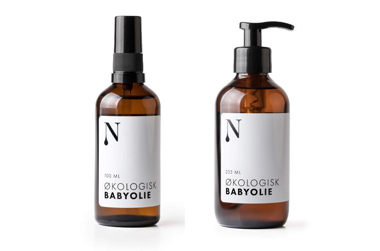 flasker med økologisk babyolie