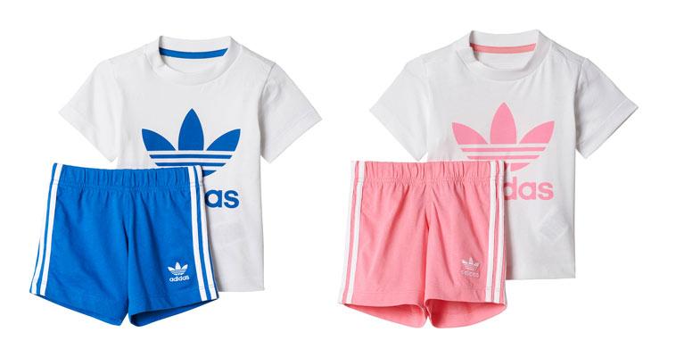 blåt og lyserødt short og t-shirt sæt