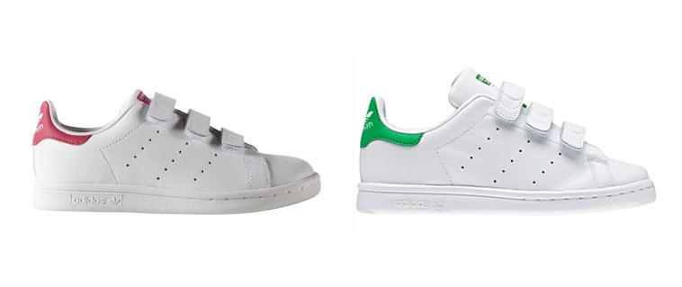 hvide adidas med grøn og lyserød detaljer