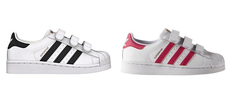 adidas superstar sneaker med sorte og lyserød striber