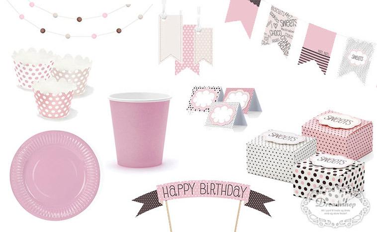 krus, guirlander og andet pynt til fødselsdag