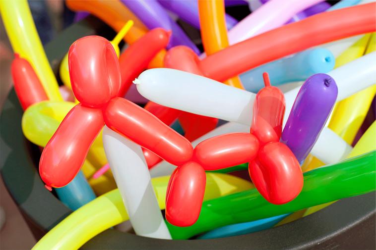 Ballondyr i forskellige farver
