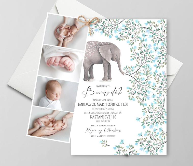 dåbsinvitation med elefant