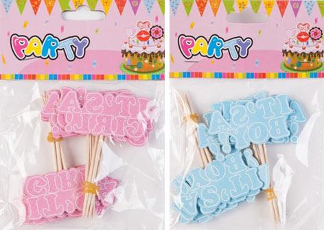 cake toppers lyserød og blå