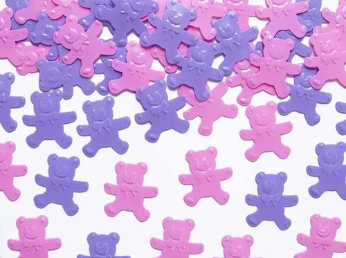 konfetti lilla og lyserøde bamser