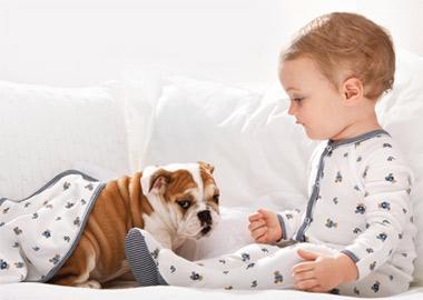 Baby dreng med hund