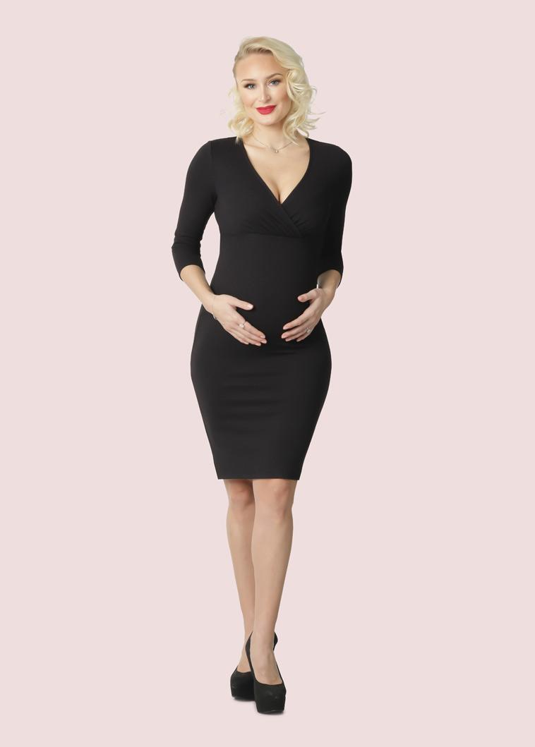 sort knælang graviditetskjole