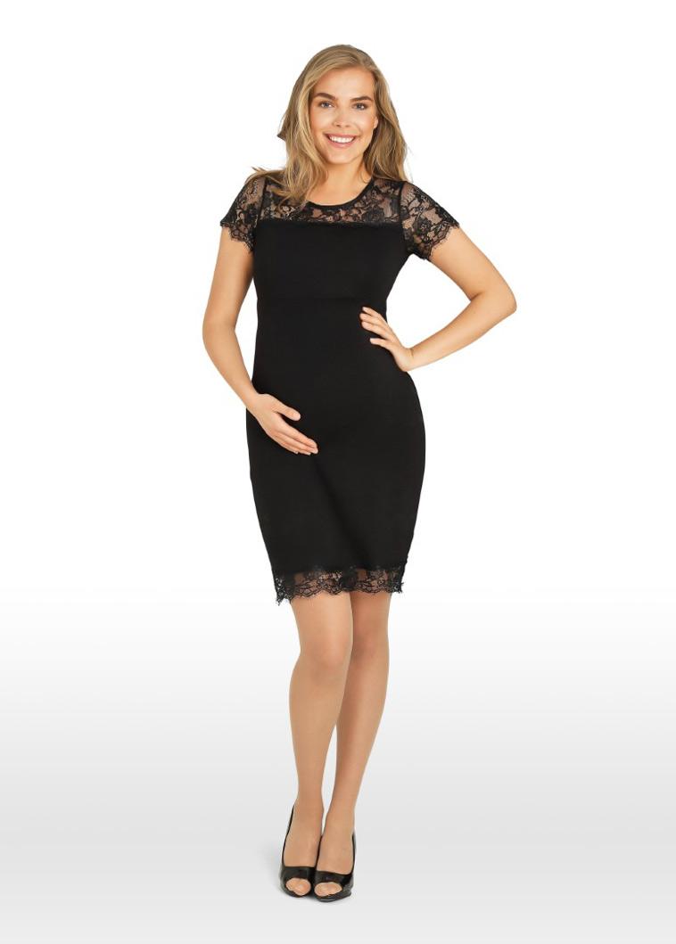 sort knælang graviditetskjole med blonder